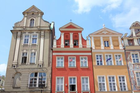 wielkopolska: Poznan, Poland - city architecture. Greater Poland province (Wielkopolska). Old colorful buildings at main square (Rynek). Editorial