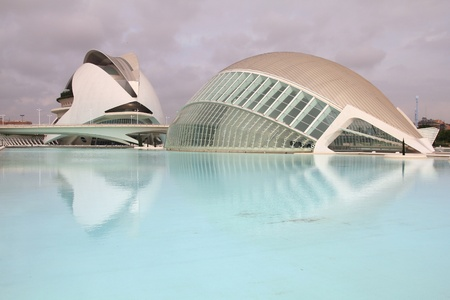 felix: VALENCIA, SPAIN - OCTOBER 8: City of Arts and Sciences on October 8, 2010 in Valencia, Spain. Opened in 1998, it is a wonder of modern architecture designed by Santiago Calatrava and Felix Candela.