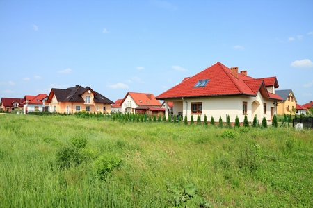 Generic residential suburb of new homes in Opolskie voivodeship (region) of Poland. Housing in Europe.