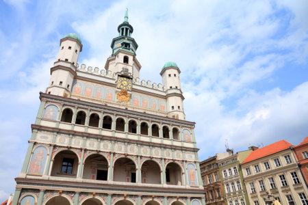 Poznan, Poland - city architecture. Greater Poland province (Wielkopolska). Famous old City Hall at main square (Rynek).