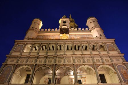 Poznan, Poland - city architecture. Greater Poland province (Wielkopolska). Famous City Hall at night.