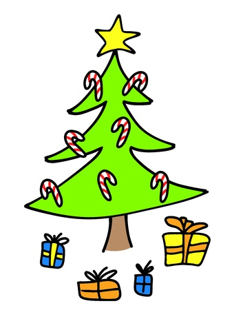 Christmas tree with presents. Colorful child-like drawing. Stock Vector - 10990632