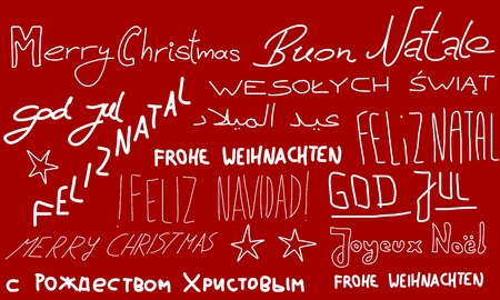 Merry Christmas - holiday wishes doodle in multiple languages. Christmas background. Stock Vector - 10990647