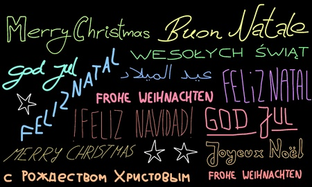 Merry Christmas - holiday wishes doodle in multiple languages. Christmas background. Vector