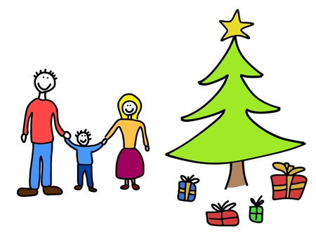 Happy family: mother, father and child. Christmas at home - Christmas tree and gifts. Child-like illustration. Stock Vector - 10990641