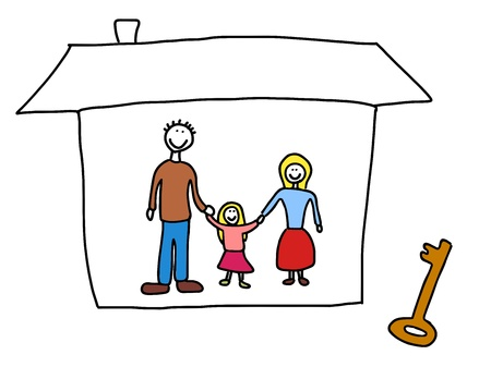 new home family: Happy family: mother, father and child. New home - moving in concept. Child-like illustration.