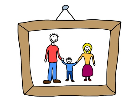 Happy family: mother, father and child. Good memories - family photo. Child-like illustration. Stock Vector - 10990639