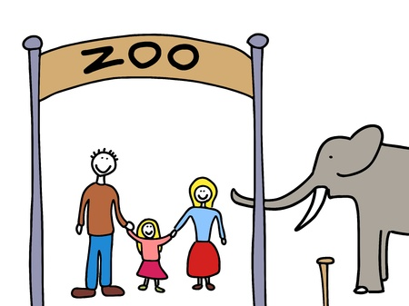 Happy family: mother, father and child. Weekend visit to the zoo. Child-like illustration. Vector