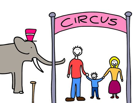 Happy family: mother, father and child. Weekend visit to the circus. Child-like illustration. Stock Vector - 10990644