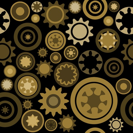 clockwork: Industrial pattern - seamless machinery gear texture. Abstract illustration with cogwheels and mechanical parts. Illustration