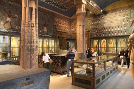 VIENNA - SEPTEMBER 8: Visitors in Museum of Art History on September 8, 2011 in Vienna. With 559k visitors in 2010, the museum is among 100 most visited museums worldwide. Ancient Egypt.