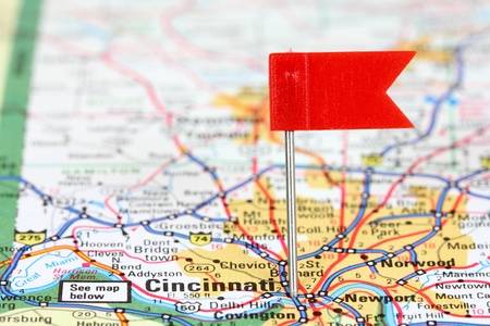 Cincinnati, Ohio. Red flag pin in an old map showing travel destination. photo