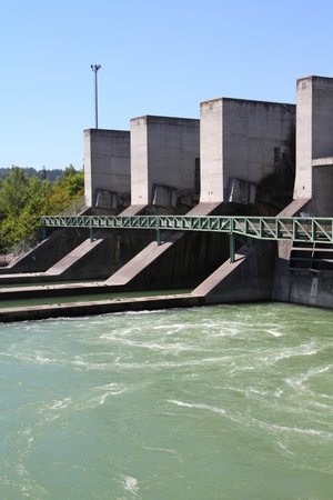 Hydroelectric power plant on Traun river in Marchtrenk, Austria. Concrete dam. Stock Photo - 10977444