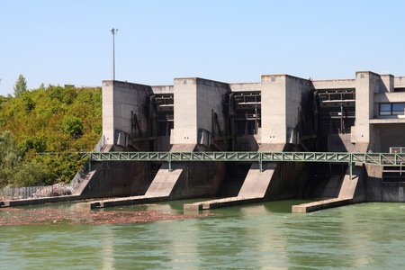 Hydro electric dam power plant on Traun river in Marchtrenk, Austria. Stock Photo - 10977172