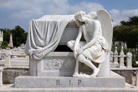 cristobal colon: Cuba - angel statue in the main cemetery of Havana. Necropolis Cristobal Colon.