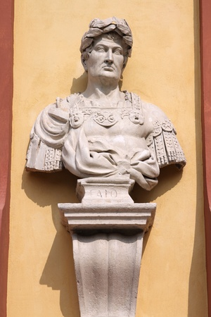 jurist: Gaius the jurist bust in Modena, Italy - Emilia-Romagna region. Famous Roman, also known as Caius.