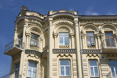 tenement: Kiev, Ukraine. Decorative apartment architecture at famous Khreshchatyk street. Editorial