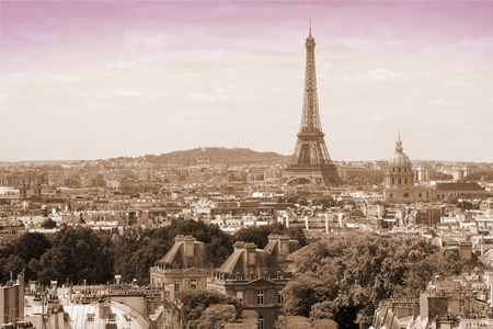 Paris, France - cityscape with Eiffel Tower. UNESCO World Heritage Site. Sepia tone.