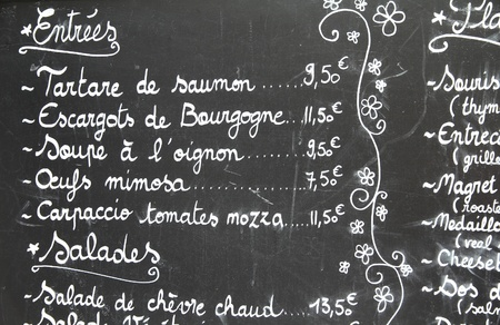 Restaurant menu in French - outdoor bar in Paris, France