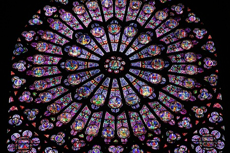 stained glass windows: Paris, France - famous Notre Dame cathedral stained glass. UNESCO World Heritage Site. Editorial