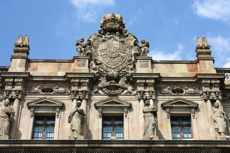 ornamented: Old Post Office in Barcelona, Spain. Famous architecture landmark. Editorial