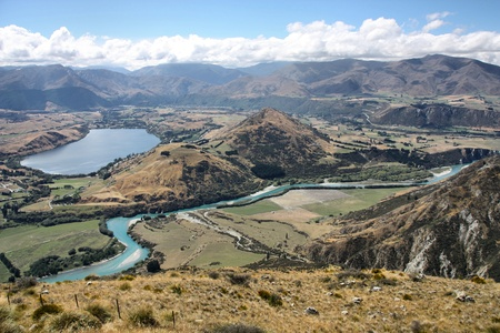australasia: New Zealand - view from The Remarkables, Otago. Beautiful landscape with Lake Hayes and Kawarau River.
