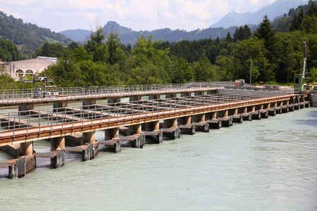 Hydro power plant on Salzach river near Zell Am See, Austria. Concrete weir. Stock Photo - 11200615