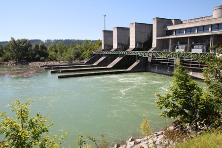 Hydro electric dam power plant on Traun river in Marchtrenk, Austria. Stock Photo - 11200616