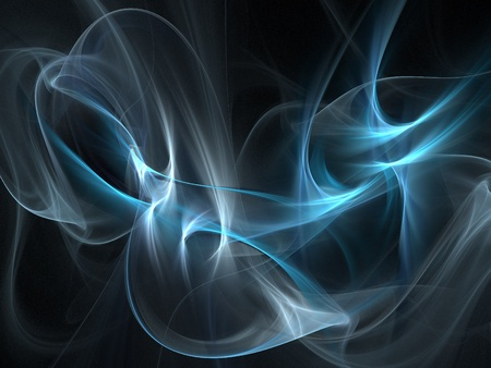 Graphics texture. Computer rendered background. 3D fractal. Smooth blue smoke. photo