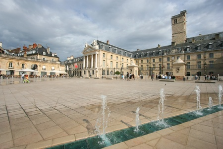 Liberation Square and the Palace of Dukes of Burgundy (Palais des ducs de Bourgogne) in Dijon, France. Beautiful town.