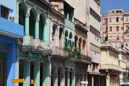 habana: Havana, Cuba - city architecture. Old residential buildings.