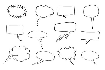doodling: Communication speech bubbles set. Chat and thought illustration collection. Illustration