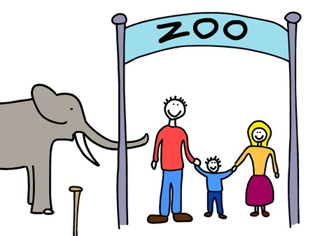 Happy family: mother, father and child. Weekend visit to the zoo. Child-like illustration. Stock Vector - 11299586