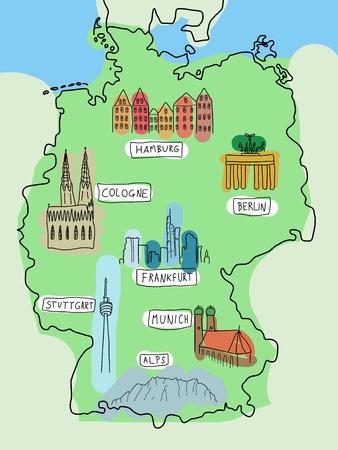 뮌헨: 독일 - 유명한 장소의 낙서지도 : 베를린, 함부르크, 쾰른, 프랑크푸르트, 슈투트가르트, 뮌헨 및 알프스. 컬러 버전입니다.