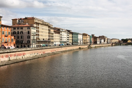 river arno: Pisa in Tuscany, Italy. Old architecture and river Arno. Stock Photo