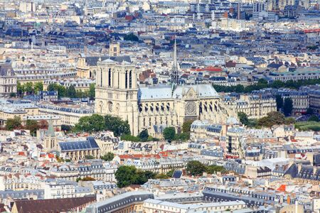 Paris, France - aerial city view with Notre Dame cathedral.  Stock Photo - 11297486