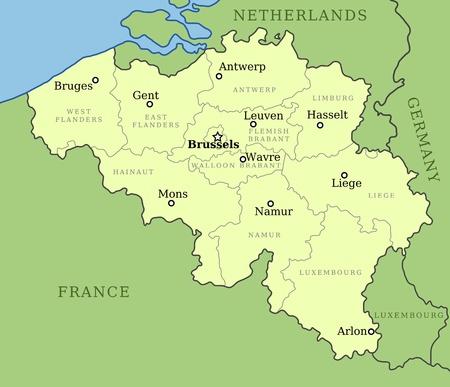 België kaart met administratieve indeling in provincies. Brussel is de hoofdstad, andere steden zijn hoofdsteden van provincies.