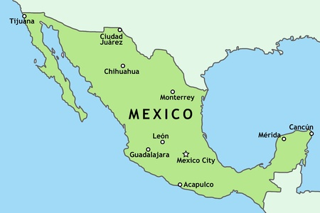 cancun: Mexico map with major Mexican cities: Mexico City, Guadalajara, Ciudad Juarez, Tijuana, Monterrey and others Illustration