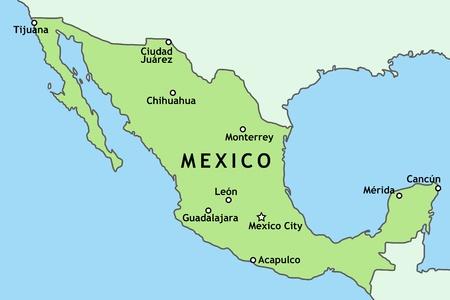 mexiko karte: Mexiko-Karte mit den wichtigsten St�dten Mexikos: Mexiko-Stadt, Guadalajara, Ciudad Juarez, Tijuana, Monterrey und andere