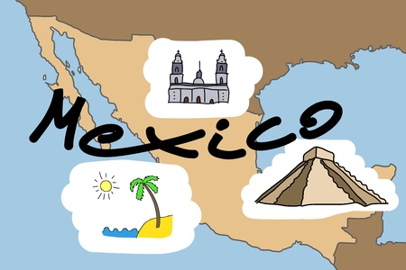 Mexico map with major Mexican landmarks: Mexico City cathedral, Acapulco beach and Maya pyramid