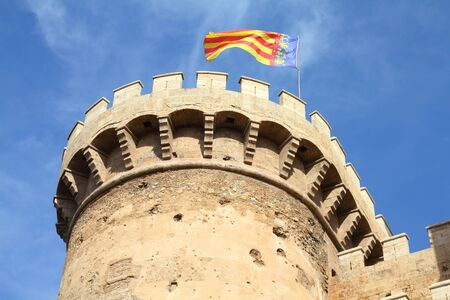 fortification: Valencia, Spain - old fortification in city walls. Torre Quart. Stock Photo