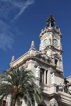 old town townhall: Valencia, Spain. Old architecture - famous town hall.