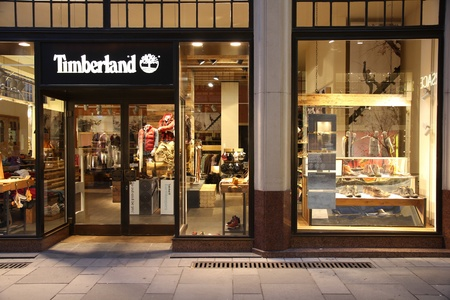 timberland: VIENNA - SEPTEMBER 8: Timberland store on September 8, 2011 in Vienna. The company founded in 1952 currently has 1.43bn USD yearly revenue (2010) and is among largest footwear and outdoor fashion retailers worldwide. Editorial