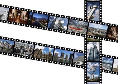 slideshow: Illustration - film strips with travel memories. Melbourne, Australia. All photos taken by me, available also separately. Stock Photo