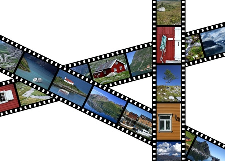 Illustration - film strips with travel photos. Fjords and landscapes in Norway, Scandinavia. All photos taken by me. illustration