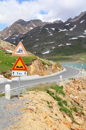 gavia: Italy. Gavia Pass Road in Stelvio National Park. Ortler Alps.