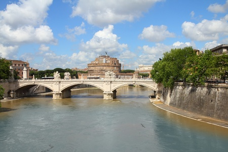 tevere: Rome, Italy. View of famous Castel Sant Angelo and Sant Angelo Bridge. River Tevere. Stock Photo