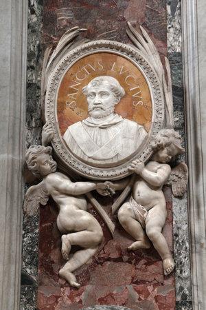 Saint Peters Basilica in Vatican - interior of famous church. Beautiful baroque art - Saint Lucius.