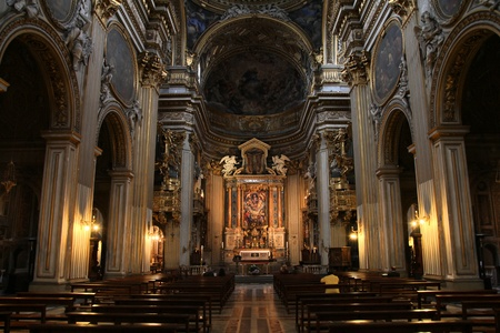 Rome - Church of Santa Maria in Vallicella (Chiesa Nuova). Catholic church interior in Italy. Editorial