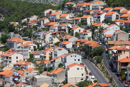 Croatia - Sibenik in Dalmatia. Mediterranean cityscape of residential area. photo